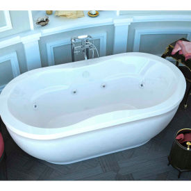 Spa World Venzi Velia Oval Whirlpool Bathtub, 34x71, Center Drain, White