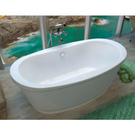 Spa World Venzi Ardea Oval Soaking Bathtub Bathtub, 36x66, Center Drain, White