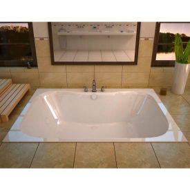 Spa World Venzi Flora Rectangular Whirlpool Bathtub, 40x60, Center Drain, White
