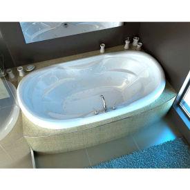 Spa World Venzi Grand Tour Aline Waterfall Oval Air & Whirlpool Bathtub, 41x70, Center Drain, White