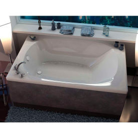 Spa World Venzi Aqui Corner Air Jetted Bathtub, 48x78, Center Drain, White