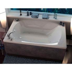 Spa World Venzi Aqui Corner Whirlpool Bathtub, 48x78, Center Drain, White