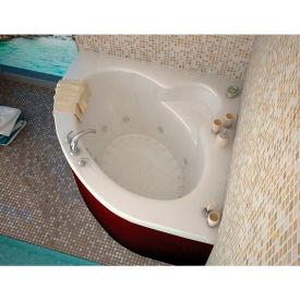 Spa World Venzi Esta Corner Air & Whirlpool Bathtub, 60x60, Center Drain, White