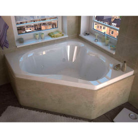 Spa World Venzi Tovila Corner Air & Whirlpool Bathtub, 60x60, Center Drain, White