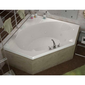 Spa World Venzi Luna Corner Whirlpool Bathtub, 60x60, Center Drain, White