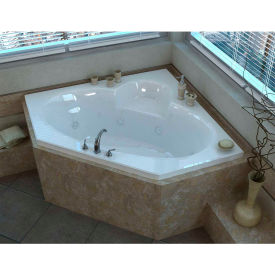 Spa World Venzi Grand Tour Ambra Corner Air & Whirlpool Bathtub, 60x60, Center Drain, White