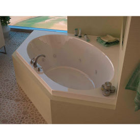 Spa World Venzi Grand Tour Stella Corner Air & Whirlpool Bathtub, 60x60, Center Drain, White
