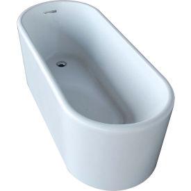 Spa World Venzi Vida Collection Oval Soaking Bathtub Bathtub, 28x67, Reversible Drain, White