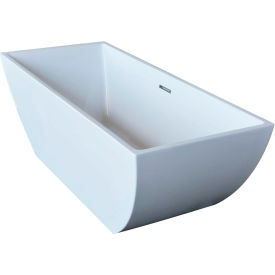 Spa World Venzi Vida Collection Rectangular Soaking Bathtub Bathtub, 30x67, Center Drain, White