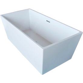 Spa World Venzi Vida Collection Rectangular Soaking Bathtub Bathtub, 32x67, Center Drain, White