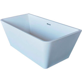 Spa World Venzi Vida Collection Rectangular Soaking Bathtub Bathtub, 32x67, Center Drain, White