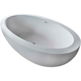 Spa World Venzi PietraStone Oval Soaking Bathtub Bathtub, 42x75, Center Drain, White