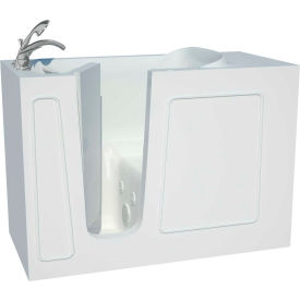 Spa World Venzi Artisan Rectangular Whirlpool Walk-In Bathtub, 26x53, Left Drain, White