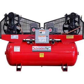 Schrader® Duplex Pro Air Compressor SA451201208, 5 Per Motor HP, 208V, 1PH, 120 Gal.
