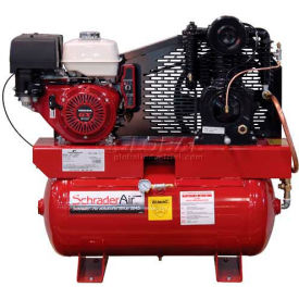 Schrader® Two-Stage Gas Powered Air Compressor SA61130HHD, Honda, 11HP, 30 Gal