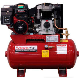 Schrader® Two-Stage Gas Powered Air Compressor SA6830B, Briggs & Stratton, 8HP, 30 Gal
