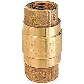 "1-1/4"" FNPT Brass Check Valve with Buna-S Rubber Poppet"