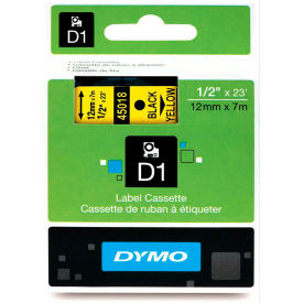 """DYMO® D1 Standard Labels 1/2"""" Black on Yellow"""