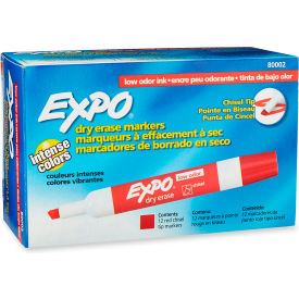 Sanford® Expo Low Odor Dry Erase Marker, Chisel Tip, Red Ink, 12 Per Pack