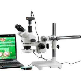 AmScope Trinocular LED Boom Stereo Zoom Microscope, 3.5x-180x Magnification, W/1.3MP Camera