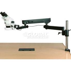 AmScope Binocular Articulating Arm Pillar Clamp Zoom Stereo Microscope, 3.5x-225x Mag., 144 LED