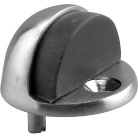 """Door Floor Stop, Dome Type, 1"""" Tall, Brushed Chrome - Pkg Qty 2"""