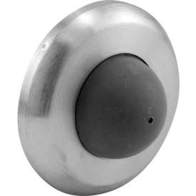 Door Stop, Wall Mount W/Rubber Bumper, Brushed Stainless - Pkg Qty 2