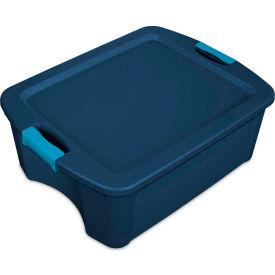 """Sterilite Latch & Carry Tote 14447406 - True Blue/Blue Aquarium 12 Gal. 23-5/8"""" x 18-5/8"""" x 9-1/4"""" - Pkg Qty 6"""