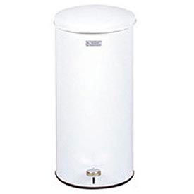 """Round Step-On Waste Receptacle, White, 5 gal., 11""""Dia x 22""""H"""