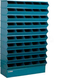 "Stackbin® Steel Hopper Stack Bin, 50 Compartment Sectional Unit, 37""W x 13""D x 60""H, Blue"