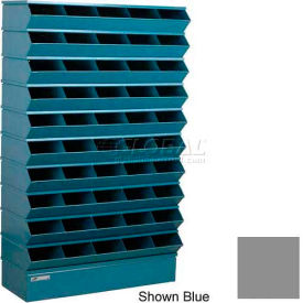 "Stackbin® Steel Hopper Stack Bin, 50 Compartment Sectional Unit, 37""W x 13""D x 60""H, Gray"