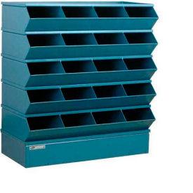 "Stackbin® Steel Hopper Stack Bin, 20 Compartment Sectional Unit, 37""W x 15""D x 43-1/2""H, Blue"