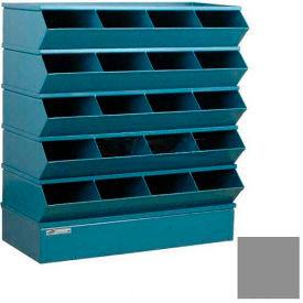 "Stackbin® Steel Hopper Stack Bin, 20 Compartment Sectional Unit, 37""W x 15""D x 43-1/2""H, Gray"