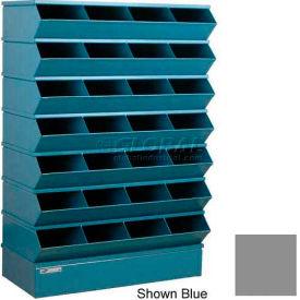 "Stackbin® Steel Hopper Stack Bin, 32 Compartment Sectional Unit, 37""W x 15""D x 58-1/2""H, Gray"