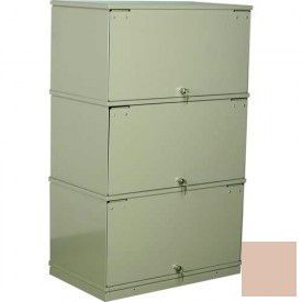 Stackbin® Three-Shelf Lockable X-Ray Storage Cabinet, Beige