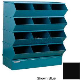 "Stackbin® Steel Hopper Stack Bin, 12 Compartment Sectional Unit, 37""W x 20""D x 44""H, Black"