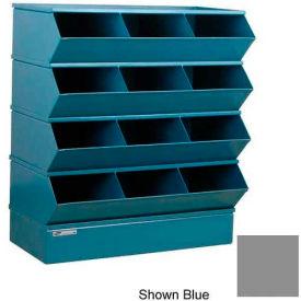 "Stackbin® Steel Hopper Stack Bin, 12 Compartment Sectional Unit, 37""W x 20""D x 44""H, Gray"