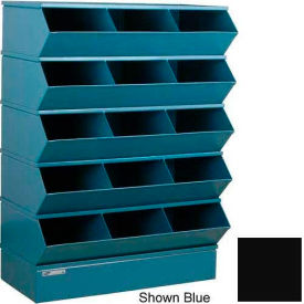 "Stackbin® Steel Hopper Stack Bin, 15 Compartment Sectional Unit, 37""W x 20""D x 53-1/2""H, Black"