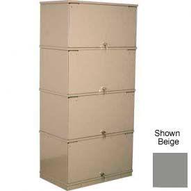 Stackbin® Four-Shelf Lockable X-Ray Storage Cabinet, Gray