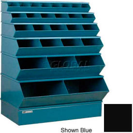 """Stackbin® Steel Stack Bin, 28 Compartment Multi-Size Sectional Unit 37""""W x 24""""D x 53""""H, Black"""