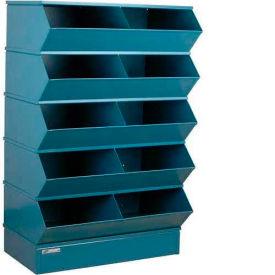 "Stackbin® Steel Hopper Stack Bin, 10 Compartment Steel Sectional Unit, 37""W x 24""D x 55""H, Blue"