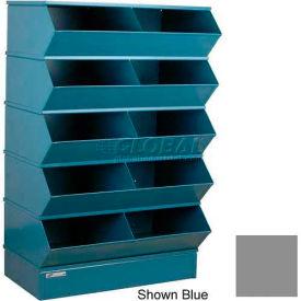 "Stackbin® Steel Hopper Stack Bin, 10 Compartment Steel Sectional Unit, 37""W x 24""D x 55""H, Gray"