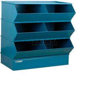 "Stackbin® Steel Hopper Stack Bin, 6 Compartment Steel Sectional Unit, 37""W x 24""D x 33""H, Blue"
