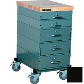 Stackbin Workbench, Mobile Workbench 16 x 24 x 33 Maple Top - Black