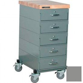 Stackbin® Single Drawer Bank Mobile 5 Drawer Cabinet, Maple Top Finish, Gray