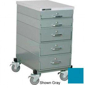 Stackbin® 16 x 24 x 33 Mobile 5 Drawer Cabinet, Laminate Finish, Blue