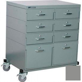 Stackbin® Double Drawer Bank 32 x 24 x 36 Mobile 8 Drawer Cabinet, Steel Top Finish, Gray