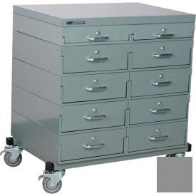 Double Drawer Bank Mobile 10 Drawer Cabinet, Steel Top Finish - Gray