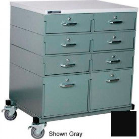 Double Drawer Bank 32 x 24 x 36 Mobile 8 Drawer Cabinet, Laminate Finish - Black