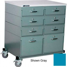 Double Drawer Bank 32 x 24 x 36 Mobile 8 Drawer Cabinet, Laminate Finish - Blue